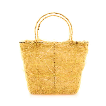Yellow basket, front view, isolated over the white background photo