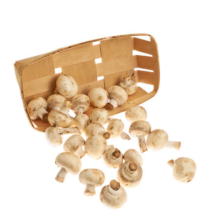 Champignon mushrooms falling out of the wooden packaging isolated over the white background photo