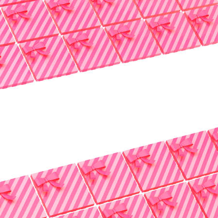 Surface covered with pink gift boxes as a background festive composition with an empty space left in the middle photo