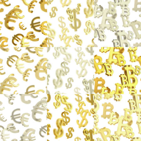 Seamless texture pattern set made of euro, dollar, bitcoin currency signs over the white background in three color variations photo