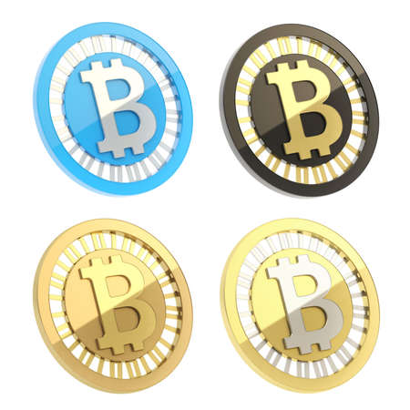 p2p: Bitcoin peer-to-peer digital currency symbol as a coin isolated over white background, set of four different color options