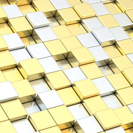 Composition of silver and golden cube shaped blocks photo