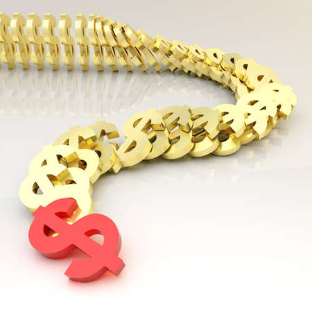 domino effect: Dollar red and golden currency symbols falling in domino effect over a glossy surface as a financial background composition
