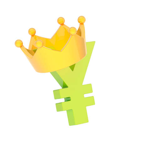 Yen currency green sign symbol in a yellow crown isolated over white background photo