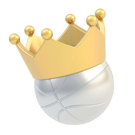 Basketball silver metal ball in the golden crown isolated over the white background photo