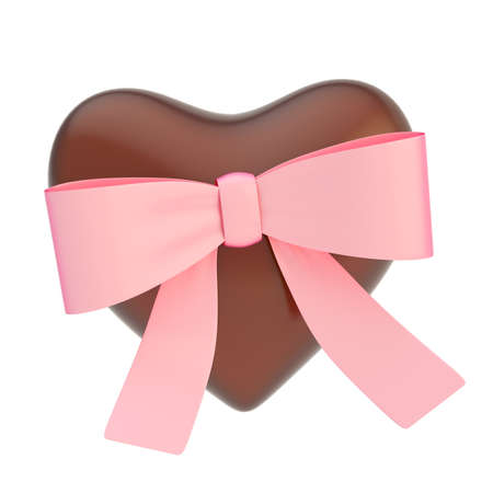 Glossy chocolate heart covered with the pink ribbon bow isolated over the white background photo