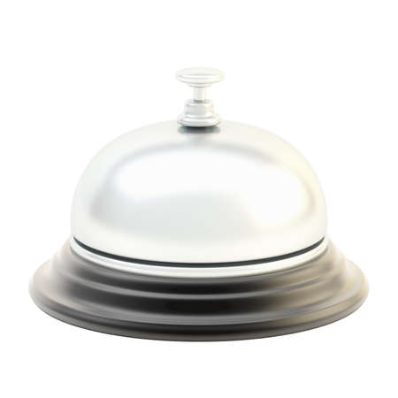 Hotel silver reception bell isolated over the white background photo