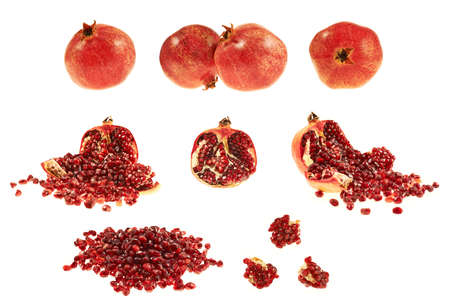 Multiple pomegranate fruit compositions isolated over white background photo