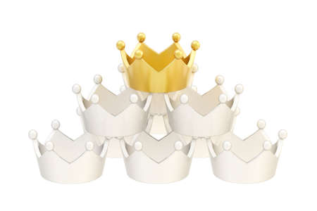 luxuriance: Pyramid pile of white crowns with golden one on the top, isolated over white background Stock Photo