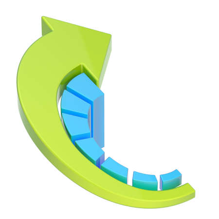 Growing seven bar blue chart graph with the bent green arrow over it, isolated over the white background photo