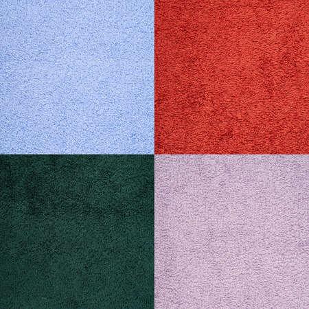 Terry cloth towel texture, set of four different colors set photo
