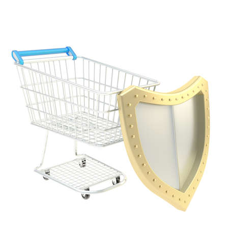 wheel guard: Secure shopping concept as a cart covered with shield composition, isolated over the white background Stock Photo