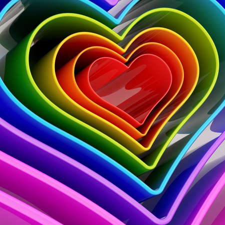 Rainbow colored heart shape figure abstract background composition photo