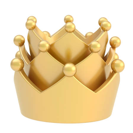 triple: Golden crown isolated over white background