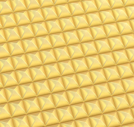 coating: Abstract background made of surface covered with golden square shaped pyramid blocks Stock Photo