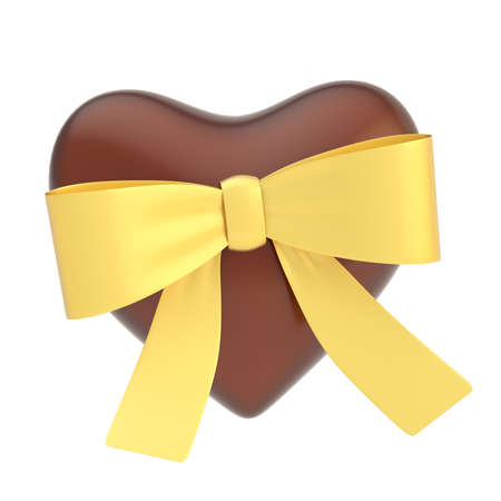 Glossy chocolate heart covered with the golden ribbon bow isolated over the white background photo