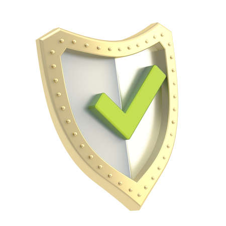 Yes tick green mark over a metal shield surface isolated over white background photo