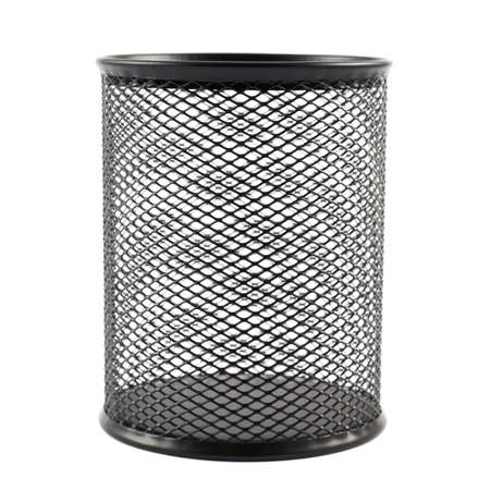 Office paper black empty trash bin isolated over the white background photo