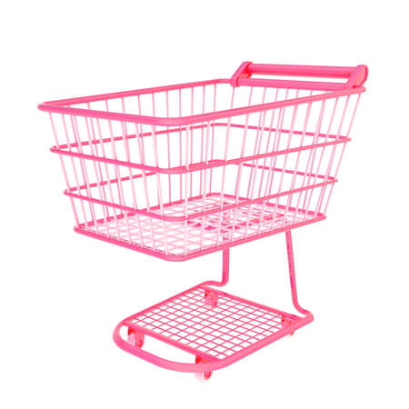 Colorful pink shopping cart isolated over the white background photo