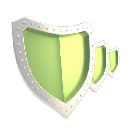 Composition of three chrome metal and green shields isolated over the white background photo