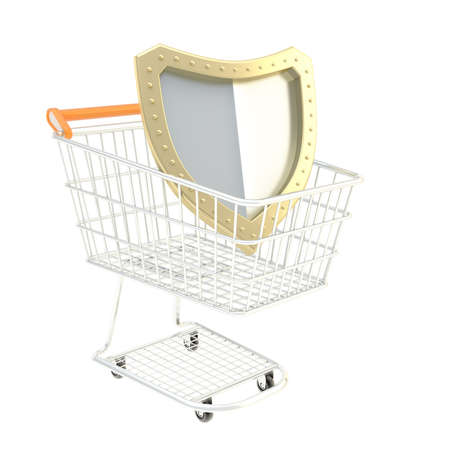 Shield inside a shopping cart isolated over white background photo