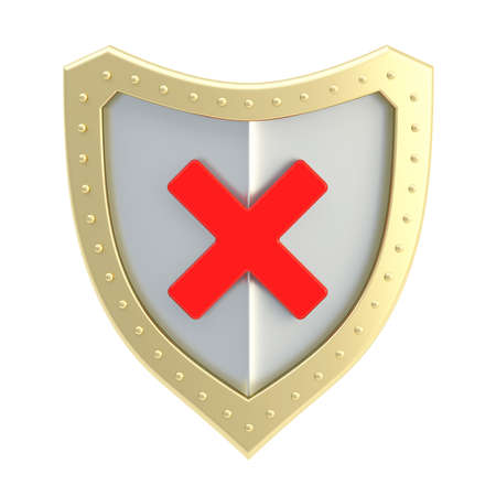 No x cross red mark sign over a golden and chrome metal shield surface isolated over white background photo