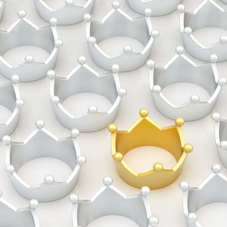 luxuriance: Golden crown among silver ones as a conceptual leadership background composition Stock Photo
