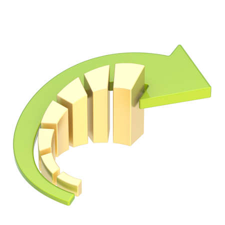 it is isolated: Growing seven golden bar chart graph with the bent green arrow over it, isolated over the white background Stock Photo