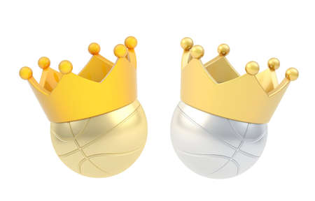 Basketball ball in the crown isolated over the white background, set of two color versions photo