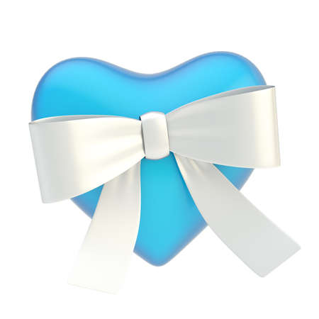 Glossy blue heart covered with the silver metal ribbon bow isolated over the white background photo