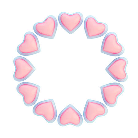 Round Empty Copyspace Frame Made Of Pink And Light Blue Hearts ...