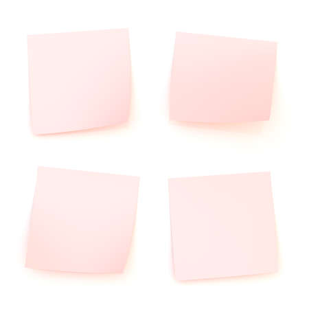 Four bent pink sticker paper notes with shadow and reflections over the white surface photo