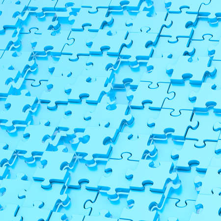chaotically: Surface chaotically covered with the blue puzzle pieces as a background composition