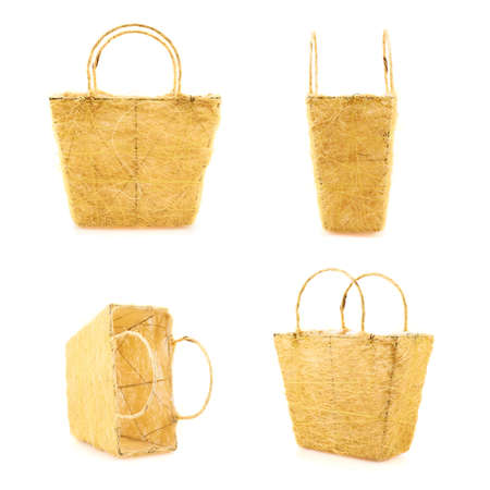 Yellow basket isolated over the white background, set of four foreshortenings photo