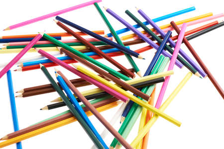 Pile of colorful drawing pencils isolated over the white background photo