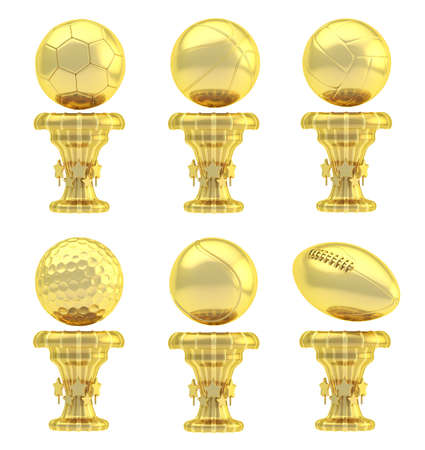 Award basketball, volleyball, football, soccer, tennis and golf sport golden trophy cup set isolated over white background photo