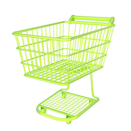 Colorful bright green shopping cart isolated over the white background photo