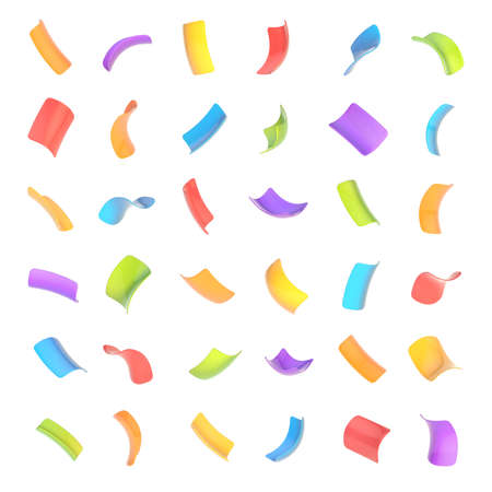 trumpery: Confetti glossy bright and colorful flakes set of sixteen foreshortenings isolated over the white background Stock Photo
