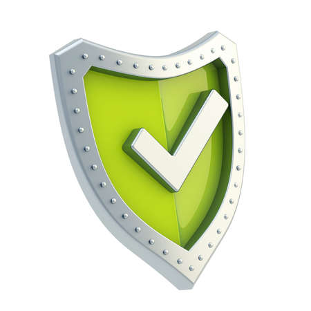 Yes tick metal mark sign over a green shield surface isolated over white background Stock Photo