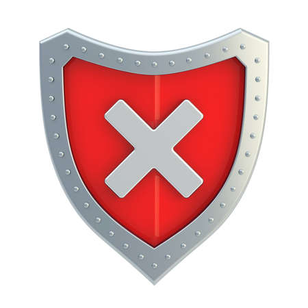No x cross metal mark sign over a red shield surface isolated over white background photo