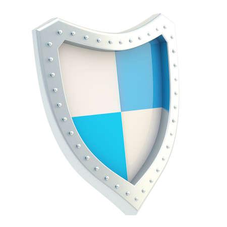 sectores: Metal escudo dividido en cuatro sectores de color blanco y azul, aislado en el fondo blanco Foto de archivo