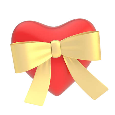 Glossy red heart covered with the golden ribbon bow isolated over the white background photo
