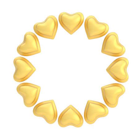Round empty copyspace frame made of golden hearts isolated over the white background photo