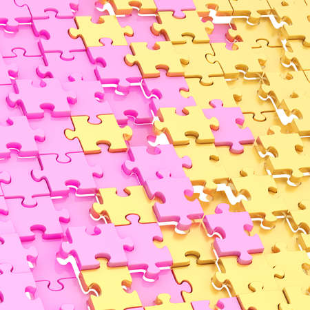Surface chaotically covered with the pink and golden glossy puzzle pieces as a background composition photo