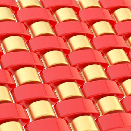 Abstract background composition made of multiple red and golden glossy links photo