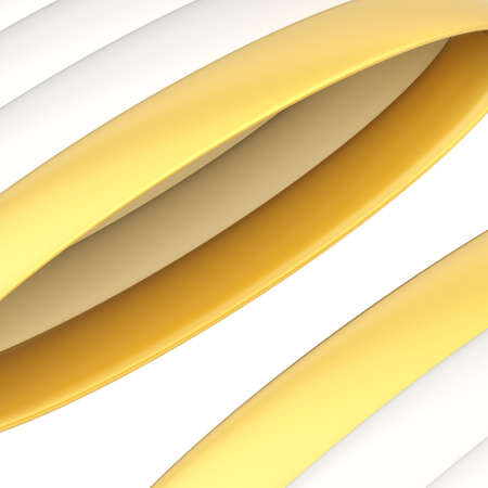 banding: Abstract background composition of glossy white and golden band strips over the white background