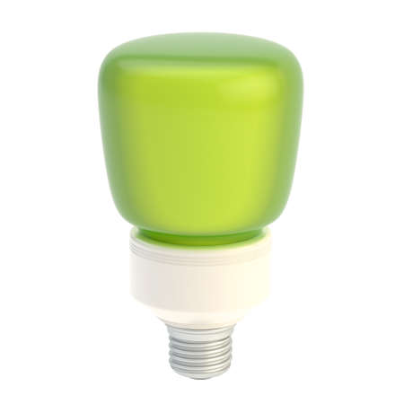 Light eco-friendly green bulb isolated over the white background photo