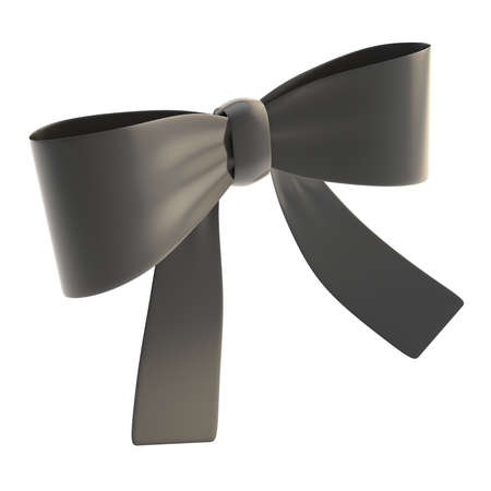 Decorational black glossy ribbon bow isolated over white background photo