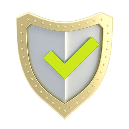 Yes tick green mark over a metal shield surface isolated  photo