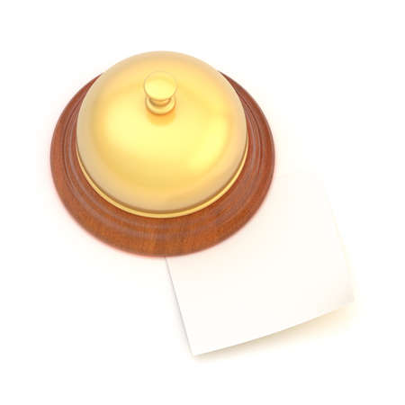 Emtpy copyspace paper note under the golden reception bell photo